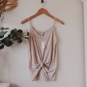 NWT M C Knotted Pale Pink Tank Top Large